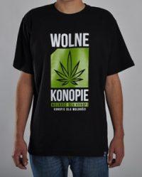 Koszulka Wolne Konopie (Duże Logo, Czarna)