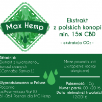 Max Hemp BIO 15% CBD/CBDa olej z konopi